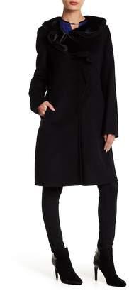 Elie Tahari Victoria Genuine Calf Hair Ruffle Coat