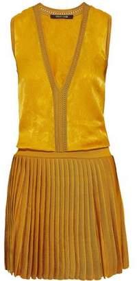 Roberto Cavalli Silk-Jacquard And Pleated Stretch-Knit Mini Dress
