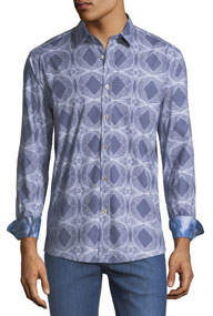 Classic Fit Spheres & Diamonds Cotton-Stretch Sport Shirt