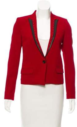 The Kooples Leather-Trimmed Structured Blazer w/ Tags
