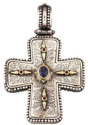 Konstantino Two-Tone Iolite, Ruby, & Garnet Cross Pendant silver Two-Tone Iolite, Ruby, & Garnet Cross Pendant