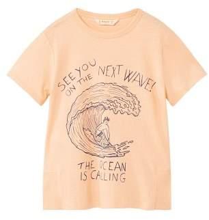 MANGO Cable knit finish t-shirt
