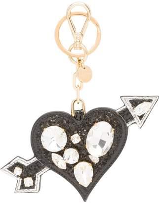 Miu Miu crystal embellished arrow heart keyring