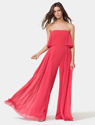 Halston Strapless Pleated Jumpsuit