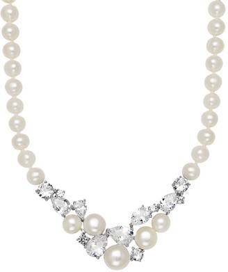 Vera Wang Simply Vera Freshwater Cultured Pearl & Lab-Created White Sapphire Sterling Silver Cluster Necklace