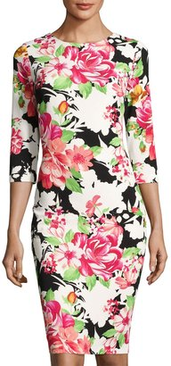 JAX 3/4-Sleeve Floral-Print Sheath Dress, Black Pattern $99 thestylecure.com