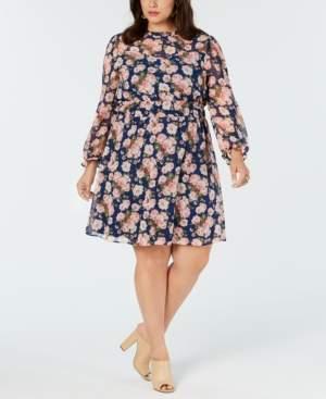 Monteau Trendy Plus Size Floral-Print A-Line Dress