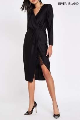 Next Womens River Island Wrap Long Sleeve Satin Dress
