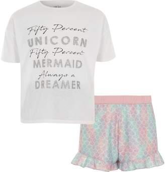 River Island Girls white 'unicorn' frill pyjama set