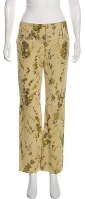 Dolce & Gabbana Painted Suede Mid-Rise Pants Beige Painted Suede Mid-Rise Pants