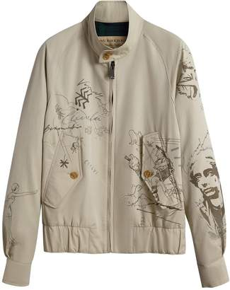 Burberry doodle-print Harrington jacket