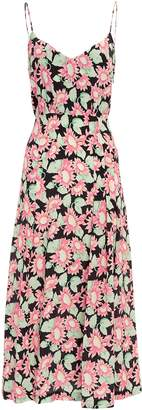 Les Rêveries Pink Sunflower Print Midi Dress