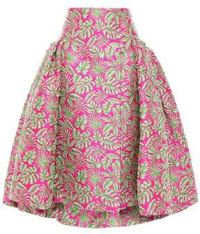 DELPOZO Flared Pleated Jacquard Midi Skirt