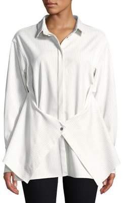 Caara Striped Asymmetrical Button-Down Shirt