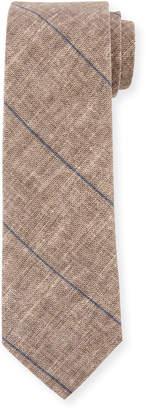Brunello Cucinelli Fine Striped Linen-Blend Tie