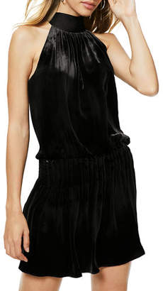 Ramy Brook Paige Velvet Gathered Tie-Neck Cocktail Dress