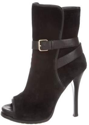Studio Pollini Suede Peep-Toe Boots Black Suede Peep-Toe Boots