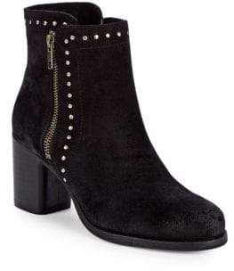 Frye Addie Studded Double-Zip Suede Booties