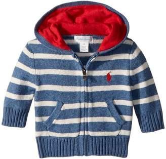 Ralph Lauren Striped Cotton Full Zip Hoodie Boy's Sweatshirt