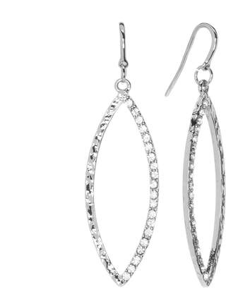 JLO by Jennifer Lopez Silver Tone Simulated Crystal Textured Marquise Hoop Drop Earrings