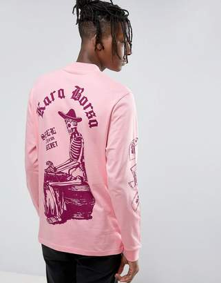 Asos DESIGN Relaxed Long Sleeve T-Shirt With Macabre Front And Back Print