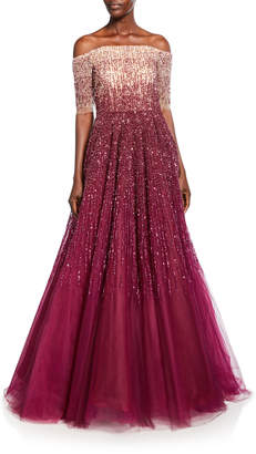 Pamella Roland Off-the-Shoulder Degrade Sequined Ball Gown