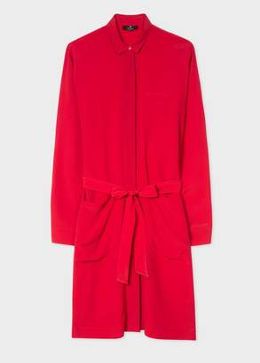 Women's Red Silk-Blend Shirt Dress With Contrasting Trims