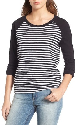 Women's Caslon Lightweight Colorblock Cotton Tee $29 thestylecure.com