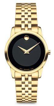 Movado Museum Bracelet PVD Goldtone Watch $1,095 thestylecure.com