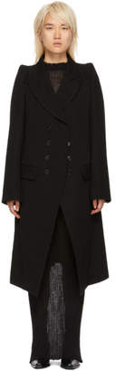 Ann Demeulemeester Black Wool Button-Up Coat