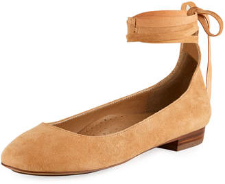 Neiman Marcus Cherie Suede Ankle-Wrap Flat, Brown