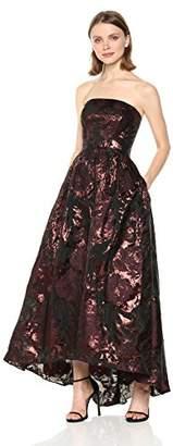 Vera Wang Women's Strapless Printed Metallic Brocade High Low Ballgown