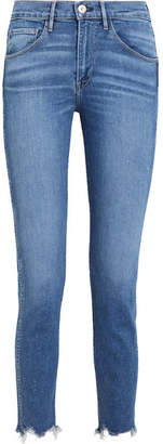 3x1 - W3 Cropped Frayed High-rise Straight-leg Jeans - Blue $245 thestylecure.com