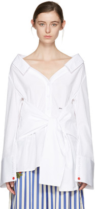 Off-White White Long Sleeve Off-the-Shoulder Shirt $665 thestylecure.com