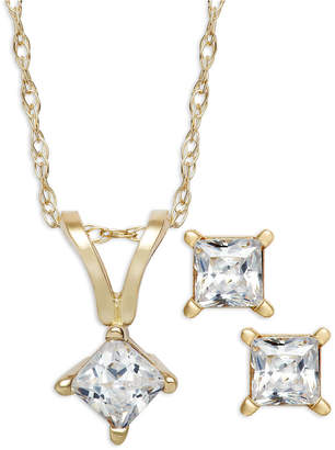 Macy's Princess-Cut Diamond Pendant Necklace and Earrings Set in 10k White or Yellow Gold (1/4 ct. t.w.)