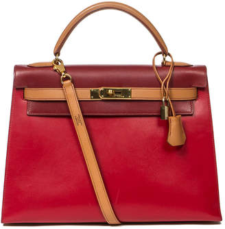 Hermes Tricolor Box Leather Sellier Kelly 32Cm Ghw