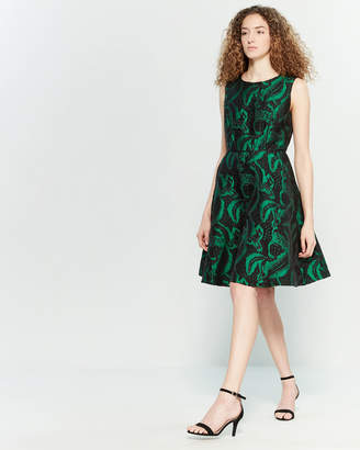 Yumi Feather Brocade Fit & Flare Dress