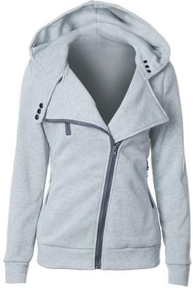 SYTX-women clothes SYTX Womens Casual Solid Zip-Front Hooded Sweatshirts Jacket Coat XL