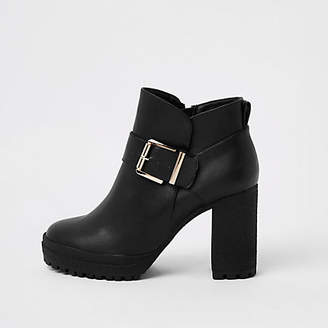 River Island Black buckle crepe sole ankle boots