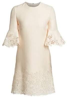 Valentino Women's Wool& Silk Flutter Sleeve Lace Dress - Avorio - Size 38 (2)