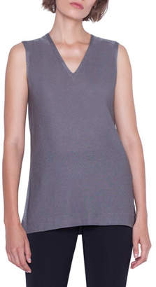 Akris Sleeveless V-Neck Shimmer Silk Knit Pullover