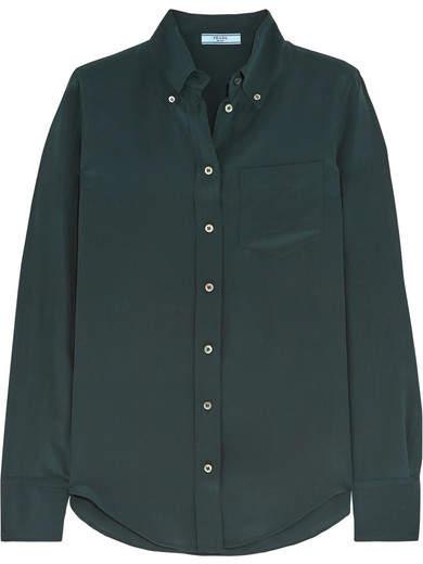 Prada - Silk Crepe De Chine Shirt - Emerald
