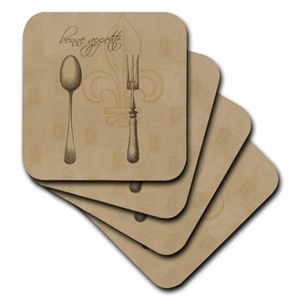 KitchenArt 3dRose Fleur de lis Bonne Appetite Fork and Spoon Vintage Soft Coasters, set of 8