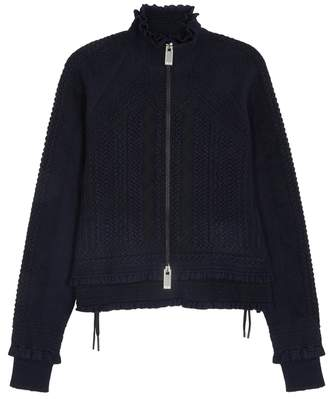 High Overtone Navy Textured-knit Jacket