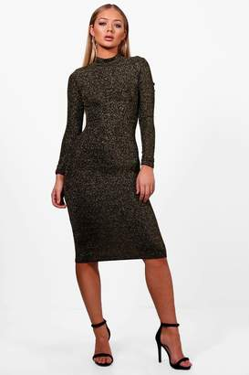 boohoo AlIcia Long Sleeve Sparkle Bodycon Dress