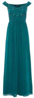 Quiz Green Bardot Embellished Maxi Dress