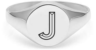 Myia Bonner Silver J Facett Initial Signet Ring