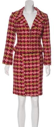 Christian Lacroix Houndstooth Wool-Blend Skirt Suit