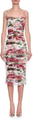 Dolce & Gabbana Sleeveless Thin-Strap Rose & Peony Print Ruched Chiffon Dress