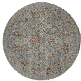 World Menagerie One-of-a-Kind Waukesha the Sunset Rosettes Hand-Knotted Round 10' Wool/Silk Gray Area Rug World Menagerie
